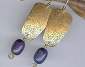 Gold Brass Earrings w- Lapis & Roller Printed Sand Texture, Egyptian Inspired Earrings, Artisan Metalwork Jewelry, Blue and Gold Earrings