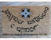 Elvish Tolkien  2 color star of faynor- Speak Friend and Enter- doormat geek stuff