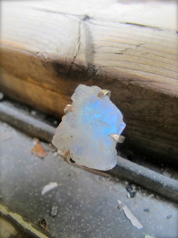 Raw Earth Moonstone Ring (size 6)