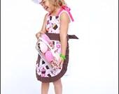 Children's apron, chef hat and crochet cupcake gift set
