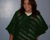 LIMITED TIME SALE:  Handmade New Green & Gold Sparkle Crocheted Poncho