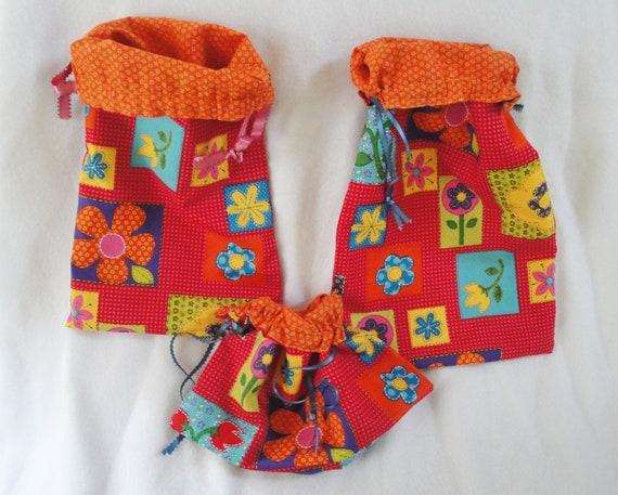 Fabric gift bag drawstring set, reversible, girl, durable bright floral reusable totes, colorful, birthday, slumber party, set of 3