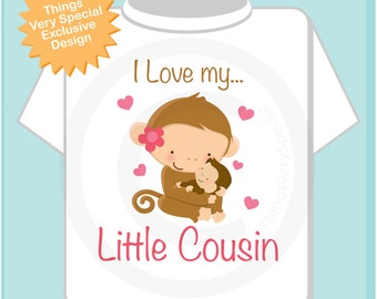 Girl's Personalized I Love My Little Cousin Tee Shirt or Onesie with cute Monkeys (09282012a)