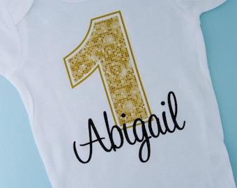 Personalized Children's First 1st Golden Birthday Onesie or Tee Shirt | 08312012a