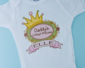 Girl's Personalized Daddy's Littlest Princess  Onesie or T Shirt for Toddlers and Kids T-shirt (03092015c)