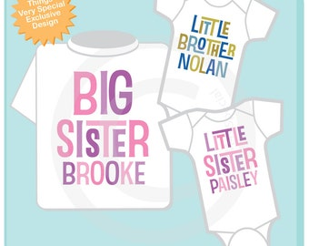 Set of Three Personalized Big Sister with Twin Baby Brother and Sister Tshirt and Two Onesies with Text (02272014c)