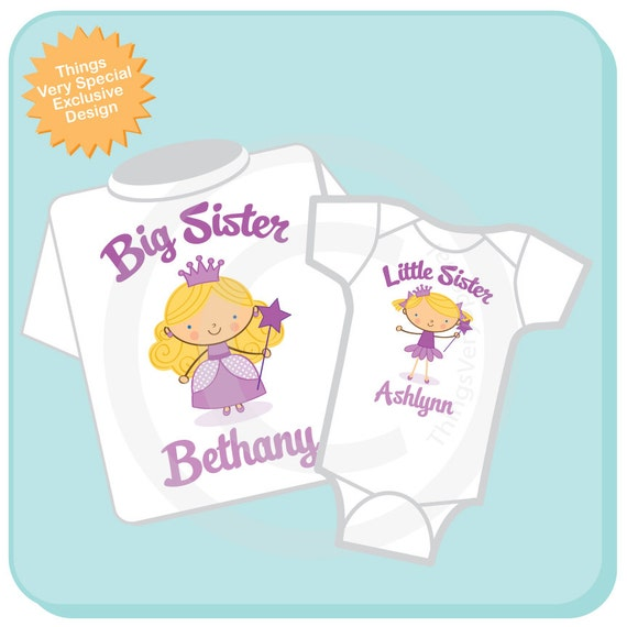 Big Sister Little Sister Outfit, Big Little Sister Blonde Princess Onesie or Shirt Personalized Princess TShirt Onesie Set of 2 (07182012a)