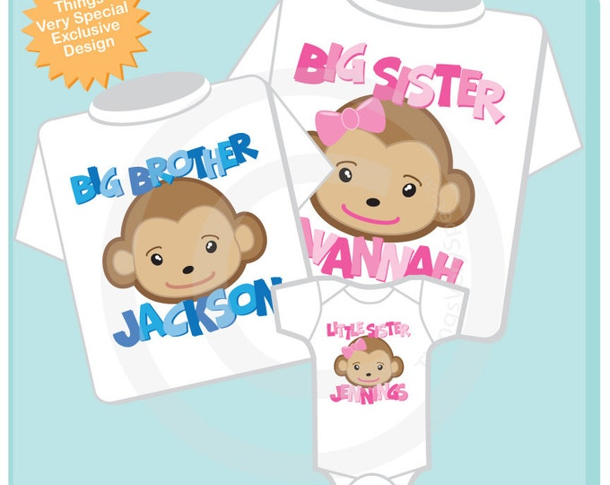 Set of Three Sibling Monkey tee shirts or Onesies with monkey head and child's name and title. 10292012c