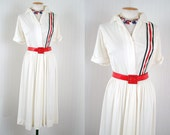 1940s Dress - Vintage 40s Red White Blue Patriotic Nautical Jersey Swing Dress m - LIBERTY AND JUSTICE