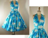 Vintage 50s 60s Dress ISLAND TEMPTRESS Blue Hawaiian Atomic Print Full Skirt Halter Sundress XS
