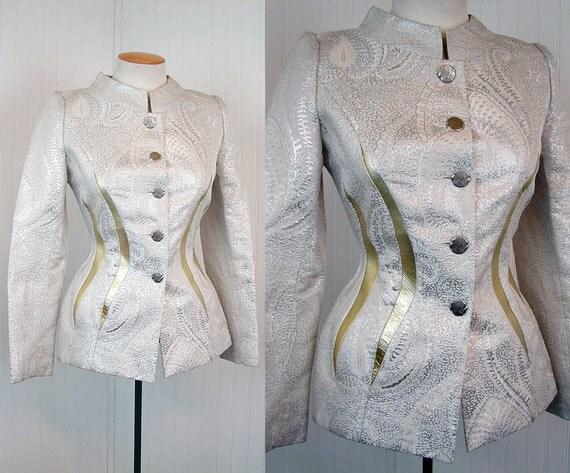 Vintage haute couture space age suit jacket silver lame for Haute couture suits