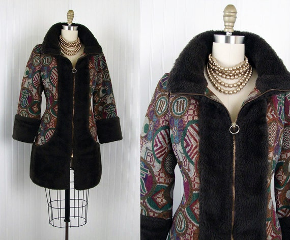 1970s Coat - Vintage 70s Tapestry Carpet Ethnic Bohemian Mod Coat Faux Fur M - The River Zen