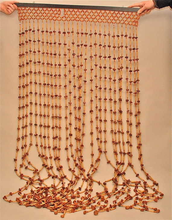 vintage wood beaded curtain or room divider classic 1960s