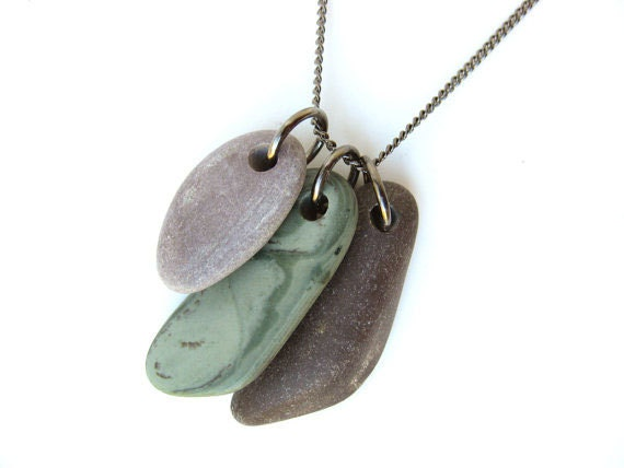 "Natural Jewelry - Purple and green rock necklace handmade from real river rock. ""Harmony"""