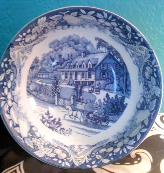 Beautiful Antique BIG Blue & White Blue Banded Bowl