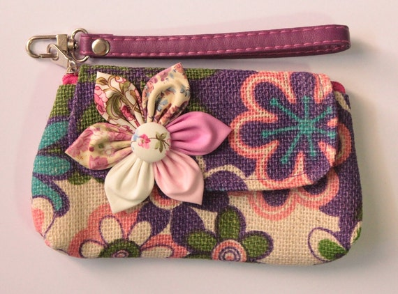 Floral wristlet purse zipper wallet cell phone coins iPhone PROMOTION Buy 3 Get 1 FREE