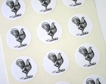 Chicken Rooster Stickers One Inch Round Seals