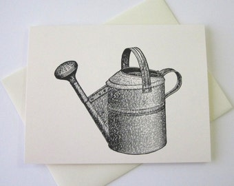 Watering Can Note Cards Stationery Set of 10 Cards