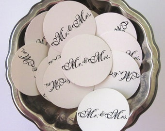 Mr. and Mrs. Wedding Favor Tags Round Paper Gift Tags Set of 10