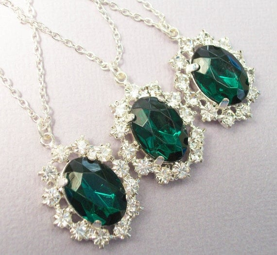 Emerald Cluster  Silver Pendant Necklace - Ideal For Brides Bridesmaids Wedding Party Special Occasion