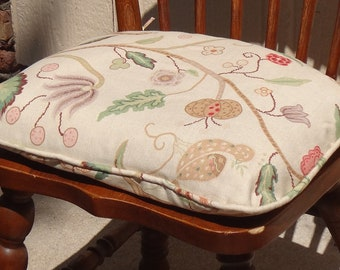 Chair Seat Cushion with ties, Custom, Use Your Fabric,Includes Poly-fill, Piping, and ties. Shaped to Fit Your Chair Seat. Made to Order.