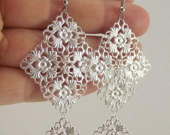 Medium Silver Chandelier Earrings, Silver Earrings, Gift for her, Stocking stuffer, Gift under 30, Christmas Gift, Holiday Gift