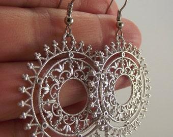 Ornate Filigree Sunburst Earrings, Silver Earrings