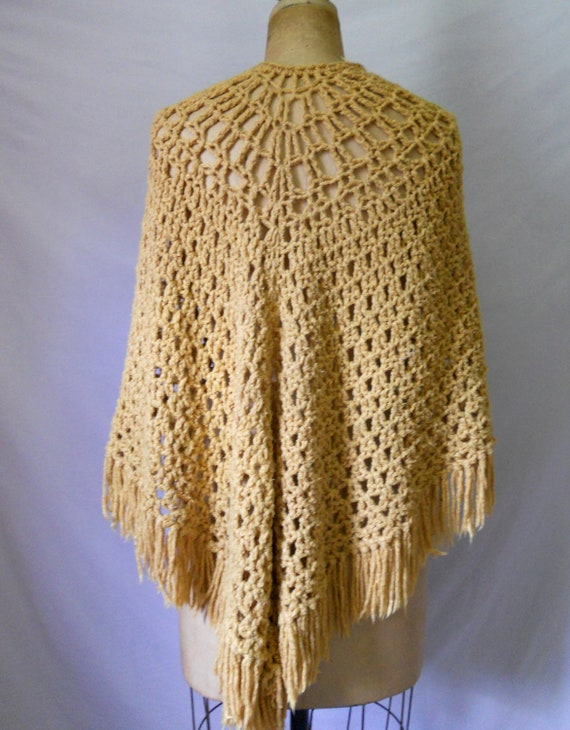 Reserved. Please do not purchase. CLOSING SALE Vintage gold shawl with fringe Seventies