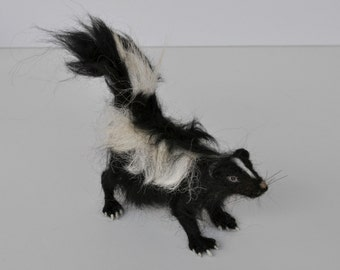 Needle felted Animals.  Felted Skunk. Needle felt by Daria Lvovsky.Made to order