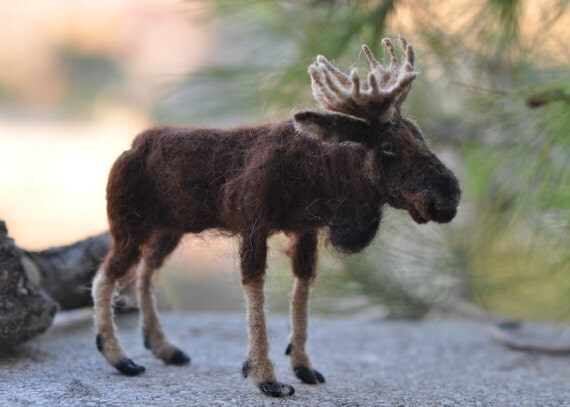 Needle Felted  Wool Animals- Moose- Soft sculpture-Collectible artist animals-needle felt by Daria Lvovsky-Ready to ship-