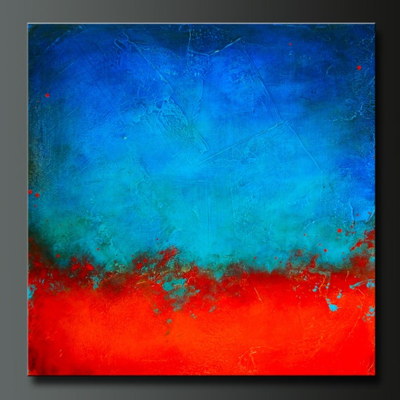 On Hold For Ivette- Eruption - 24 x 24 - Abstract Acrylic Painting on Canvas - Contemporary Wall Art