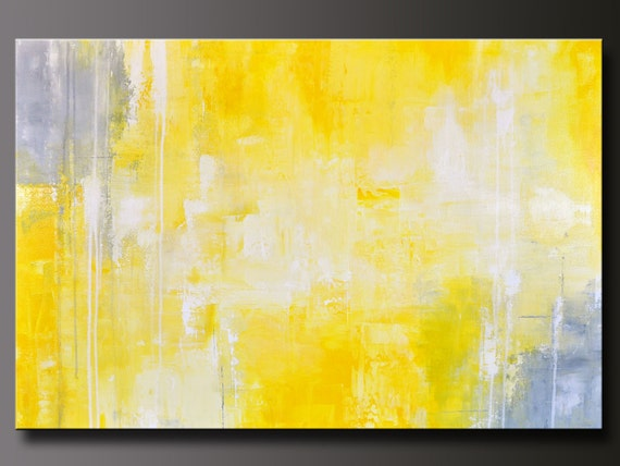 Abstract in Yellow 13 - Abstract Acrylic Painting - Contemporary Gray Yellow Wall Art