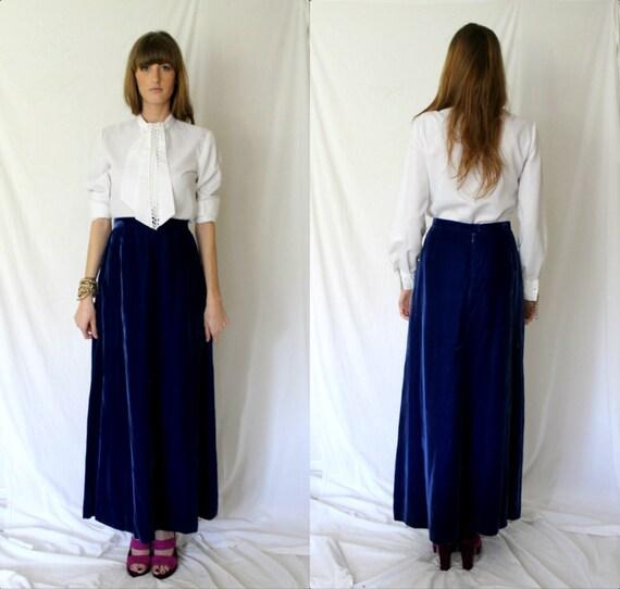 Royal Blue Velvet Maxi Long Skirt Elegant Holiday Wear