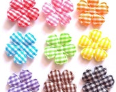 100 pcs - Cute Gingham Flowers Padded Appliques - Mix color - size 20 mm