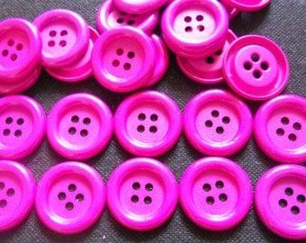 20 pcs - Big buttons - 4 hole - size 33 mm Fuchsia