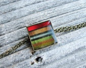 Striped Bracelet Illustrated Art Stripes in Resin Pendant Minimalist Fresh Modern Contemporary Jewelry