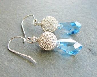 Crystal Polygon Earrings Blue Sterling Silver Bead Filigree Something Blue Bride Minimalist Modern