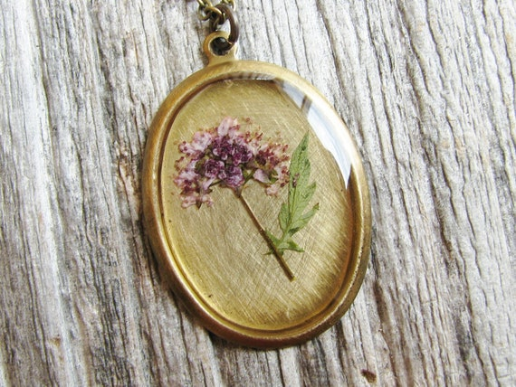 Pressed Flower Necklace Botanical Jewelry Resin Pendant Preserved Plants Purple Spirea Natural History Garden Lover