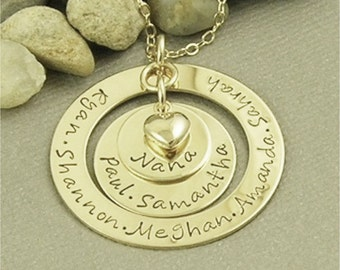 Personalized Nana Necklace, Hand Stamped Necklace, 14kt Gold Filled Jewelry