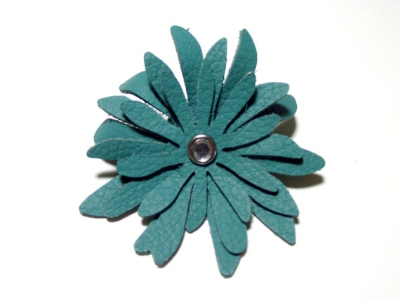 Large leather hair clip - layered turquoise