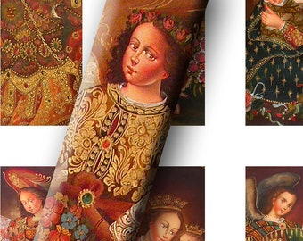 Digital Collage Sheets Vintage Icon Angel Paintings Microscope Slides, Pendant Images