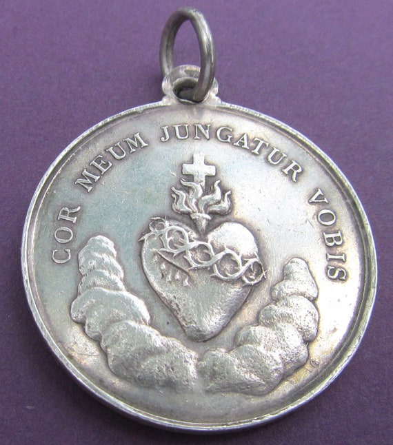 Antique Religious Medal French Sterling Silver Virgin Mary Sacred Heart Signed Waag  SS508