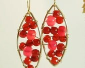 Dangle Leaf Earrings in Red Carnelian and Gold