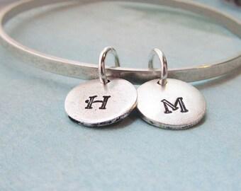 Bangle Bracelet Matte Silver Custom Letter Discs 2 3 4 5 6 7 8 9 10