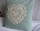 Hand printed duck egg heart cushion cover