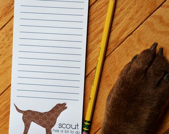 Chocolate Lab or Chessie Personalized Notepads -- To Dog List Custom Breed