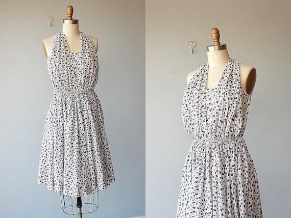 50s Dress | 1950s Dress | 50s Halter Dress | Bombshell Dress 50s | Leaf Printed Dress