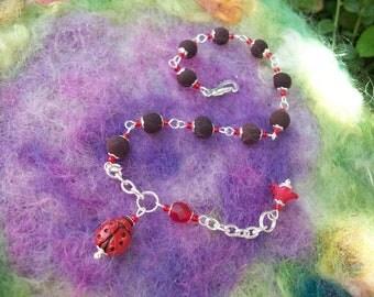Ladybug Bracelet with Rose Petal Beads