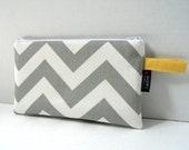 Grey Chevron - Zippered  Clutch / Pouch - BagEnvy Handbags