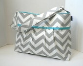 Monterey Chevron Diaper Bag Medium - In Grey Chevron And Aqua - Adjustable Strap and Elastic Pockets
